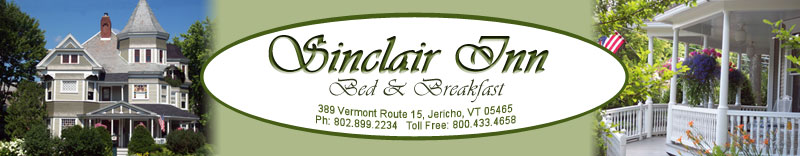 Vermont Bed and Breakfast Inn Lodging at the Sinclair Inn Bed and Breakfast, Champlain Valley Region of Vermont